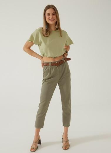 People By Fabrika Kadın Kemerli  Pantolon PFKSS21PA0016 Yeşil
